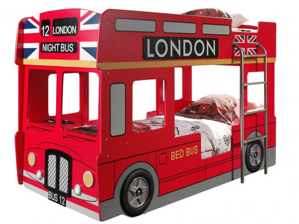 детская двухъярусная кровать автобус