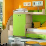детская кровать-чердак зеленого цвета