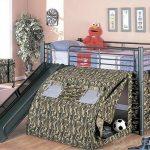 детская кровать чердак с горкой милитари