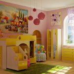 детская кровать чердак с горкой желтая