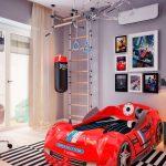 детская кровать машина красного цвета