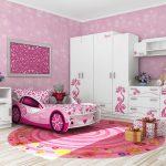детская кровать машина розовая