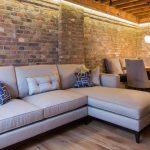 угловой замшевый диван