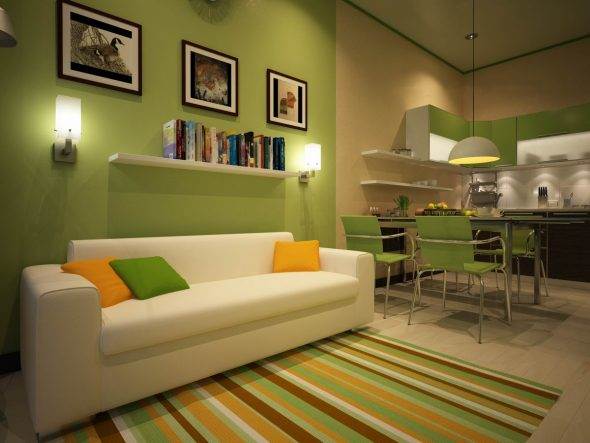 удобная кухня с диваном