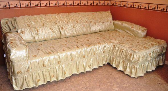 атласный чехол на диван