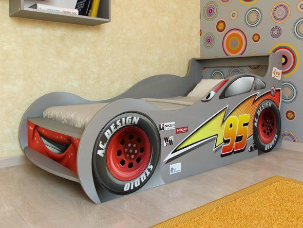 кровать машина серого цвета