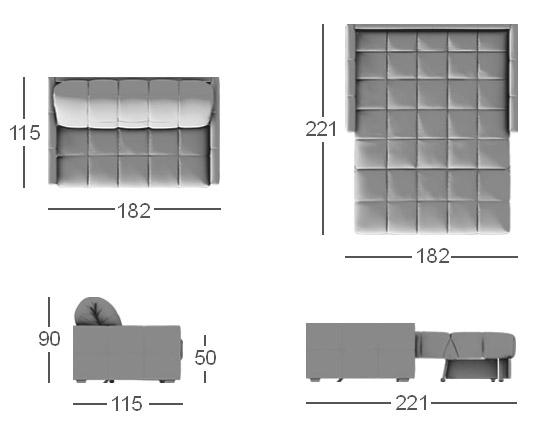 схема дивана прямого