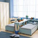 спальня для двух детей в голубых тонах