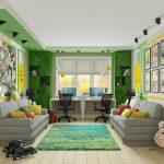 желто-зеленый интерьер детской