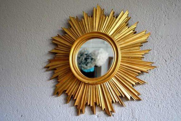 зеркало солнце с дополнительным декором