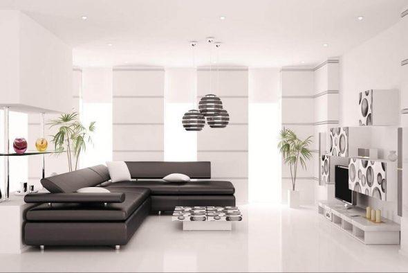черный диван в белой гостиной