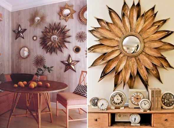 Деталь интерьера, зеркало-солнце