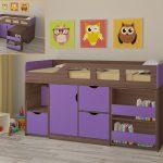 Детская кровать для ребенка от 3 лет Астра 8 дуб шамони фиолетовый