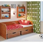 Детская кровать от 3 лет с полками ольха
