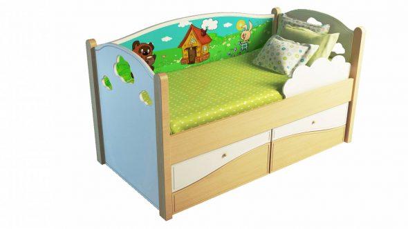 Детская кровать с бортиками в дизайне