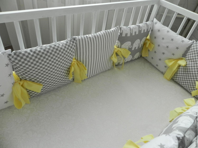 Бортики с подушками в кроватку для новорожденного своими руками