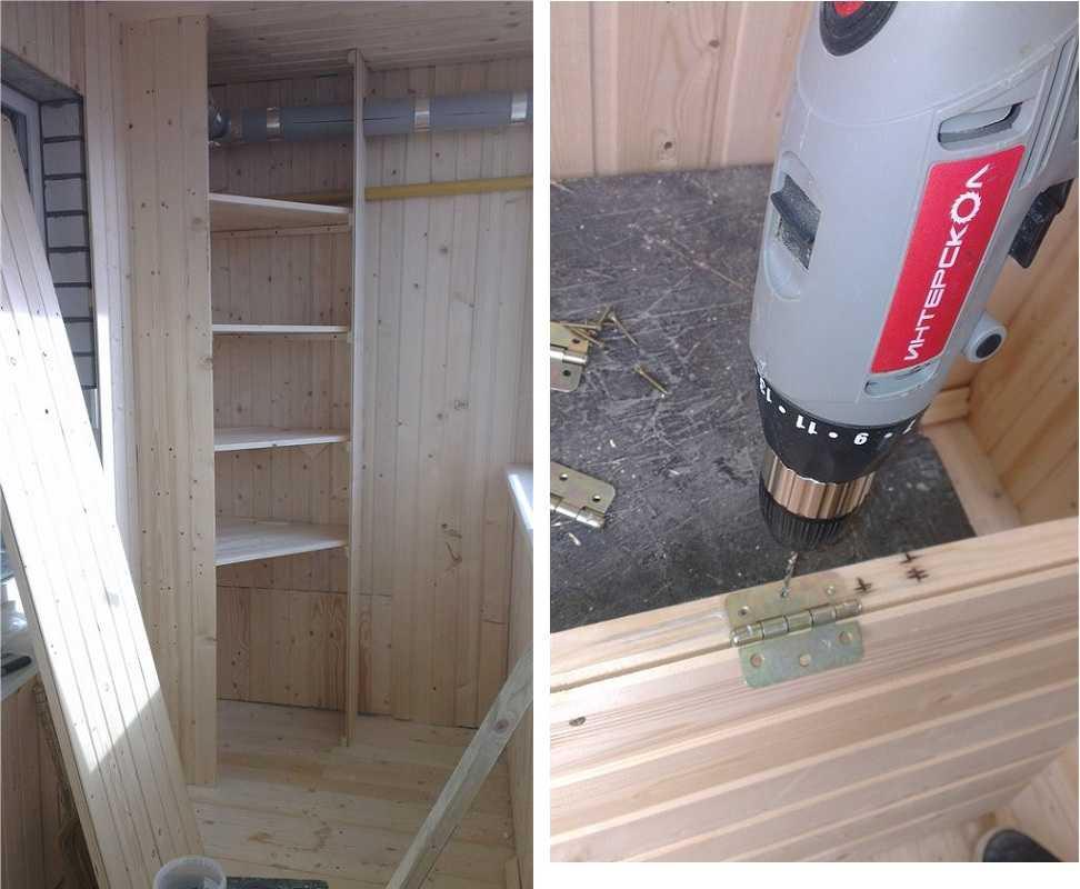 Как сделать угловой шкаф из вагонки балконе своими руками