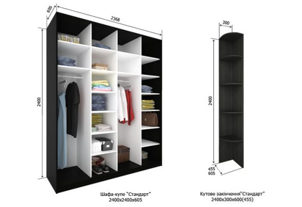 Размеры шкафа-купе Стандарт