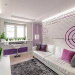 белая мебель с лавандовым цветом