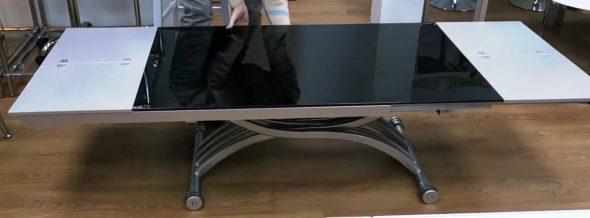 Стол трансформер 2в1, стекло и металл