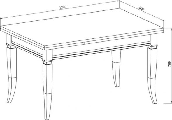 высота прямоугольного стола