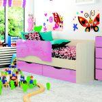детская кровать с бортиками яркая