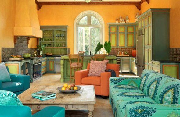 зелено голубой диван