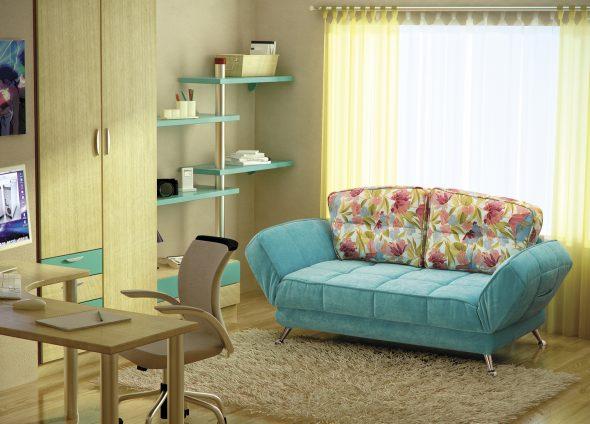 бирюзовый диван в детской