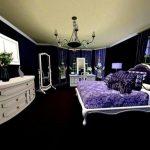 двуспальная кровать черно фиолетовый дизайн