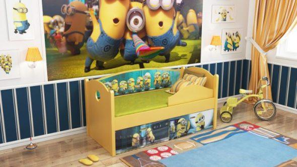яркая детская кровать