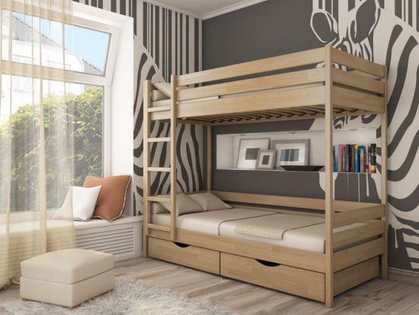 детская кровать из дерева двухъярусная