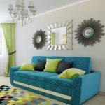 диван бирюзовый у стены