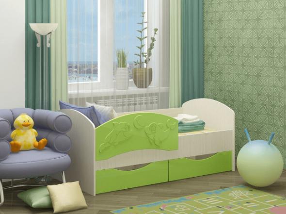 кровать дельфин зеленого цвета