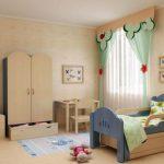 детская кровать с бортиками в интерьере спальни
