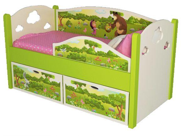 кровать с бортиком и ящиками