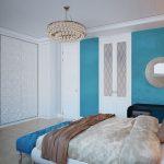 двуспальная кровать бело голубой дизайн