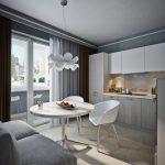 кухня с диваном серым