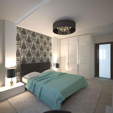 Дизайн стены над кроватью в спальне фото