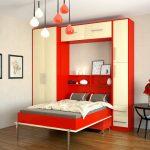 откидная кровать красного цвета