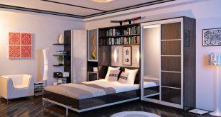 подъемная кровать с полками