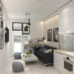 кухня с диваном черным