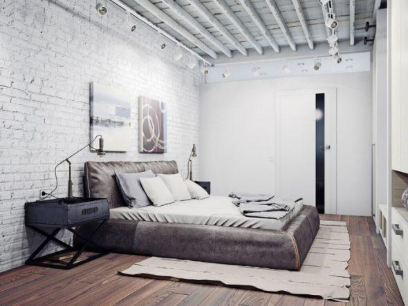 светлая спальня лофт