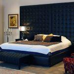 двуспальная кровать темно синяя