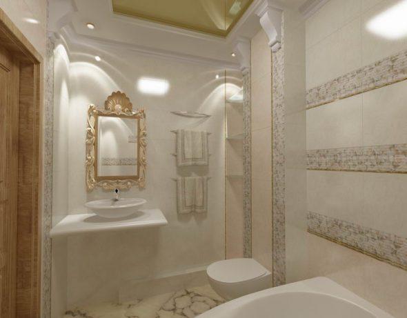 зеркало в раме в ванной