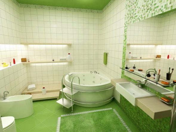 зеркало в зеленой ванной