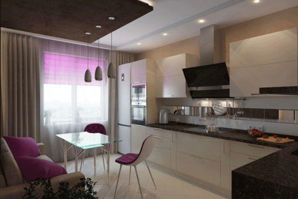 Дизайн кухни с диваном 10 кв м