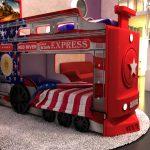 Двухъярусная кровать Ред-Ривер Паровоз цвет красный левая лестница