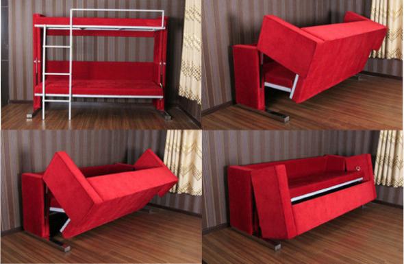 Двухъярусная кровать трансформер красного цвета