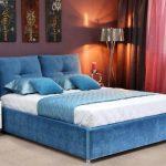 двуспальная кровать синяя