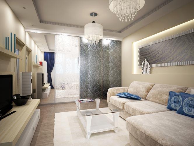 Дизайн угловой гостиной 18 кв.м
